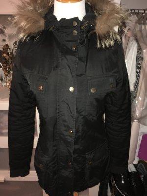 Schwarze Bloom Jacke mit Echtfell