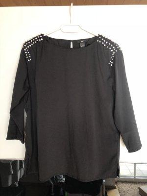 Schwarze Bluse 3/4 Arm mit Steinchen