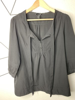 H&M Blusa collo a cravatta nero