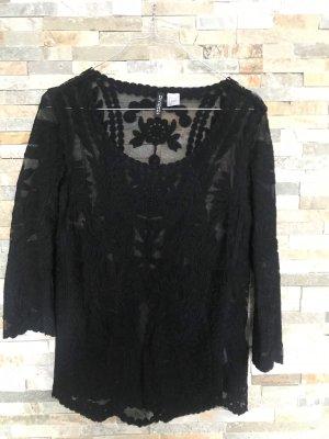 Schwarze Bluse aus Spitze und Netzstoff von H&M in gr. XS