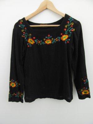 schwarze Bluse Damen Vintage Retro Blumen Gr. M