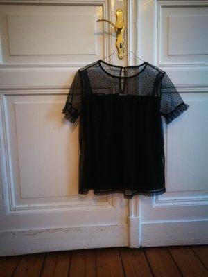 Schwarze Bluse Halbtransparent mit Pünktchen (M)