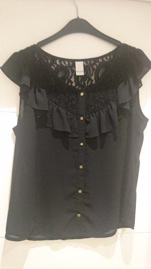 schwarze Bluse, kurzarm, Rüschenbluse, Spitze schwarz, Shirt, Top