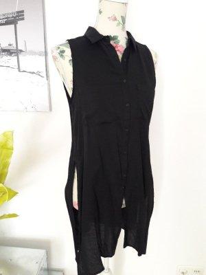 Schwarze Bluse, Longtop mit Schlitzen