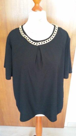 schwarze Bluse mit angenähter Kette