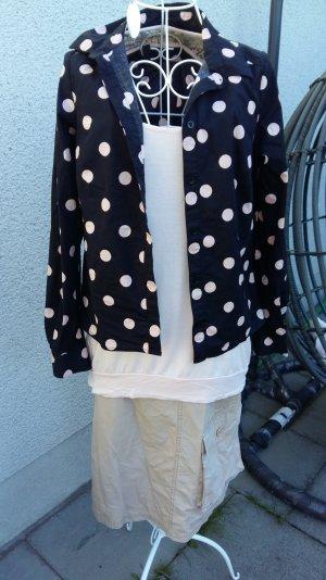 schwarze Bluse mit aprikotfarbenen Punkten Polka Dots Gr 36