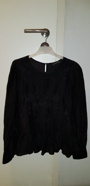 Zara Woman Blusa ancha negro