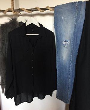 Schwarze Bluse mit Brusttaschen
