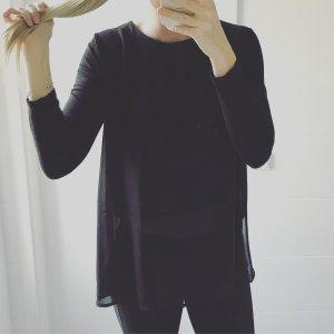 schwarze Bluse mit Chiffon