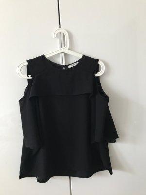 Schwarze Bluse mit Cut Out Ärmeln