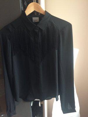 Schwarze Bluse mit Fransen