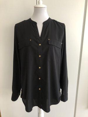 Schwarze Bluse mit goldenen Knöpfen von Calvin Klein