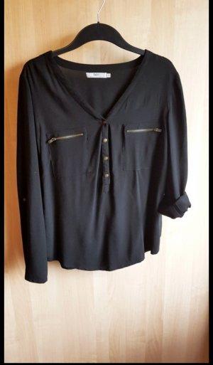 Schwarze Bluse mit Knöpfen aus Viskose