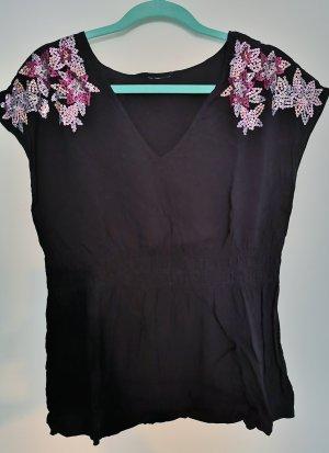 Schwarze Bluse mit Pailetten