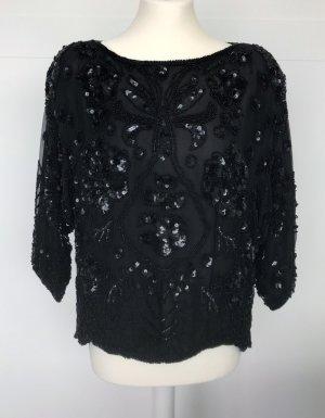 schwarze Bluse mit Pailetten und Perlen von Elégance