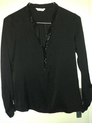 schwarze Bluse mit Pailleten