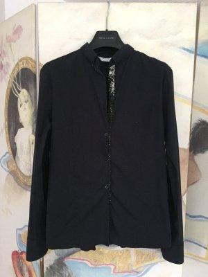 Schwarze Bluse mit Pailletten-Knopfleiste silber