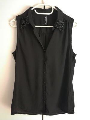 Schwarze Bluse mit Perlen