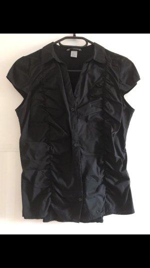 Schwarze Bluse mit Raffung