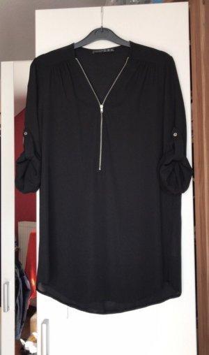 Schwarze Bluse mit Reißverschluss