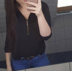 Schwarze Bluse mit Reisverschluss