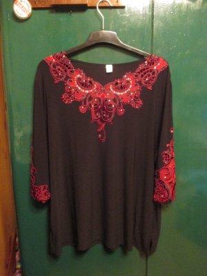 Blusa de manga larga negro-rojo oscuro Poliéster