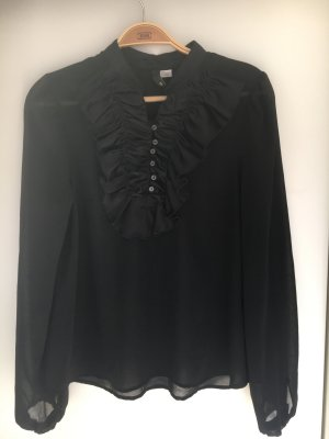 H&M Divided Blouse à volants noir polyester