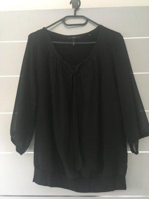 Schwarze Bluse mit Schleife Materialmix Gr. 40 Zero