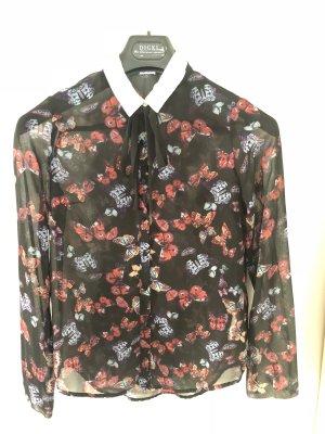 Schwarze Bluse mit Schleife und Blumenprint