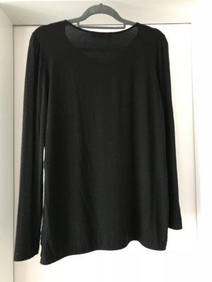 Schwarze Bluse mit Seidenschleife Größe L
