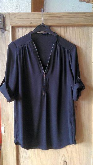 Schwarze Bluse mit silbernem Reißverschluss
