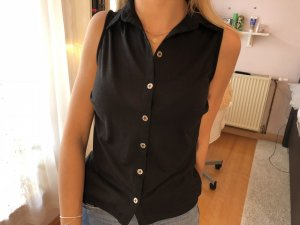 Schwarze Bluse mit Spitze Gr. 32/34