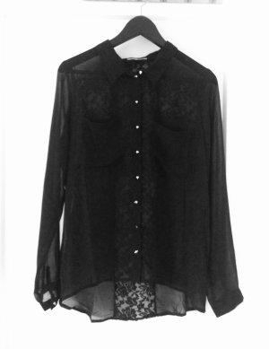 Schwarze Bluse mit Spitzendetails
