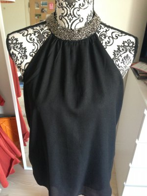 schwarze Bluse mit Steinchen Kragen