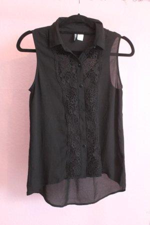 Schwarze Bluse mit Stick