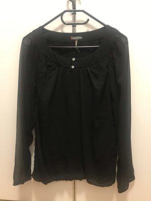 Schwarze Bluse mit transparenten Ärmeln von Street One Gr 36