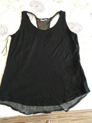 Schwarze Bluse mit transparenten Detail