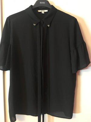 Schwarze Bluse mit verziertem Kragen