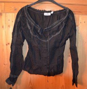 Schwarze Bluse mit weitem Ausschnitt