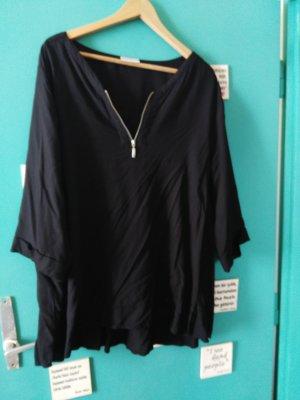 schwarze Bluse mit zip Detail