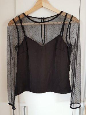Schwarze Bluse Spitze Transparent XS