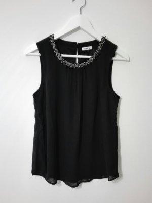 schwarze Bluse von Only mit Perlenapplikation