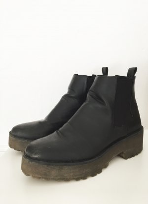 H&M Platform Booties black-grey brown imitation leather