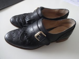 Schwarze Brogues Dandys Oxford Schuhe Schnalle