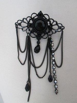 schwarze Brosche Gothic Emo Barocker Stil