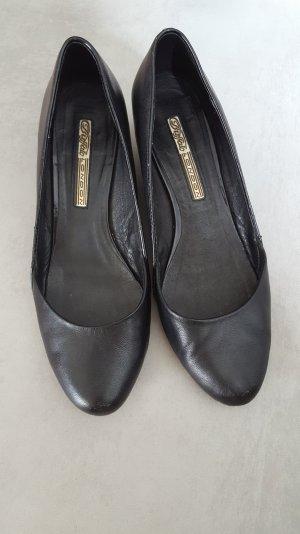 Schwarze Buffalo Keilabsatz Schuhe