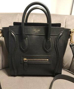 Schwarze Céline Nano Luggage Bag mit goldener Hardware