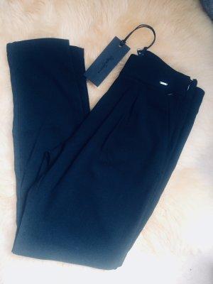schwarze Chino Bundfaltenhose