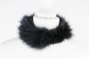 schwarze CHOKER Kette aus echtem Fell Gothic SM Luxus NEU