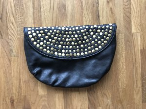 schwarze Clutch mit Gold-Applikationen